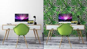 Fotomurales Mexico papeles pintados hojas de palmera tropical modelo fondo geometrico 5 300x169 - Papel Tapiz