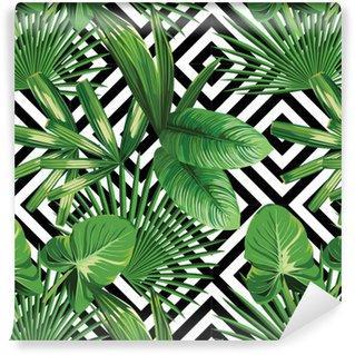 Fotomurales Mexico papeles pintados hojas de palmera tropical modelo fondo geometrico - Papel Tapiz Palmera Fondo Geometrico