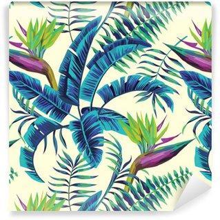 Fotomurales Mexico papeles pintados lavables fondo transparente de la pintura exotica tropical - Papel Tapiz Patrón Hojas Verde Turquesa en Fondo Blanco 01