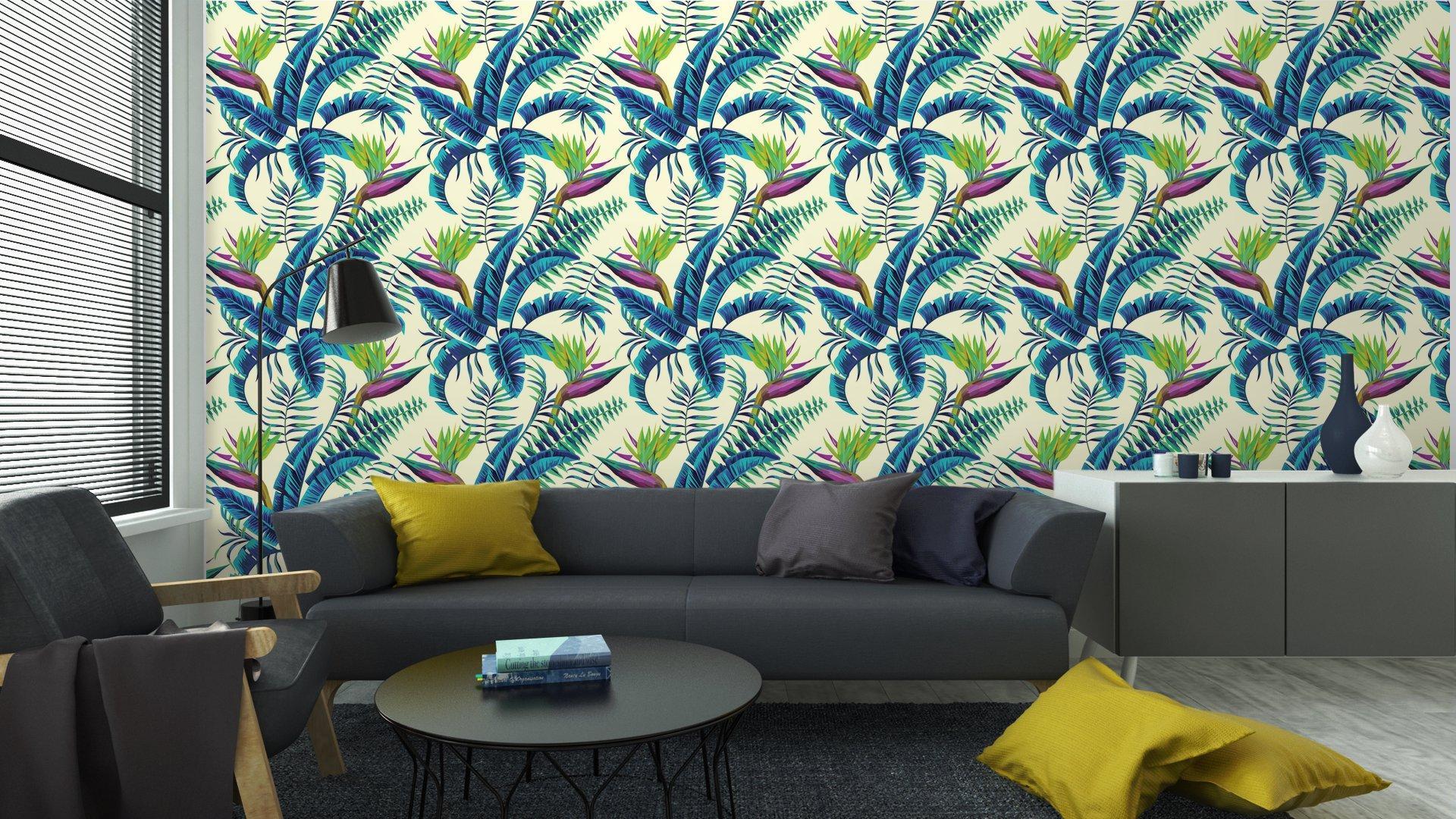 Fotomurales Mexico papeles pintados lavables fondo transparente de la pintura exotica tropical5 - Papel Tapiz Patrón Hojas Verde Turquesa en Fondo Blanco 01