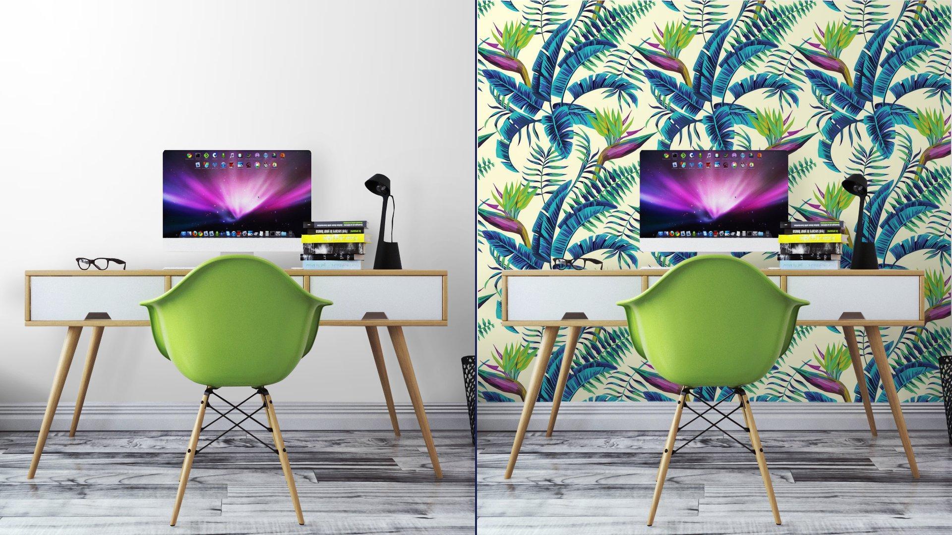 Fotomurales Mexico papeles pintados lavables fondo transparente de la pintura exotica tropical6 - Papel Tapiz Patrón Hojas Verde Turquesa en Fondo Blanco 01