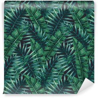 Fotomurales Mexico papeles pintados lavables palmera tropical de la acuarela deja patron transparente ilustracion del vector - Papel Tapiz Hojas Tropicales en Fondo Negro 02