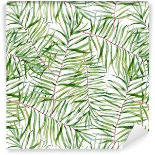 Fotomurales mexico papeles pintados autoadhesivos acuarela patron de hojas tropicales - Papel Tapiz Hojas Tropicales Tipo Acuarela en Fondo Blanco 01