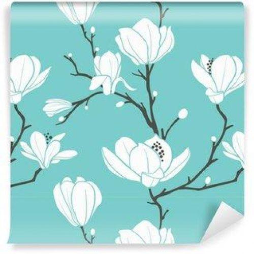 Fotomurales mexico papeles pintados autoadhesivos blue magnolia pattern 500x500 - Fotomurales Papel Tapiz Tropical y Naturaleza