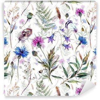 Fotomurales mexico papeles pintados autoadhesivos dibujados a mano flores silvestres acuarela - Fotomurales Papel Tapiz Vintage y Old Style