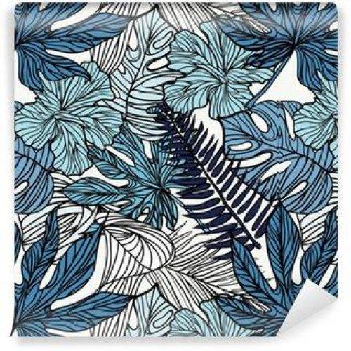 Fotomurales mexico papeles pintados autoadhesivos flores exoticas tropicales y plantas con hojas verdes de palma 500x500 - Papel Tapiz Flores Exóticas Tropicales con Hojas Verdes de Palma