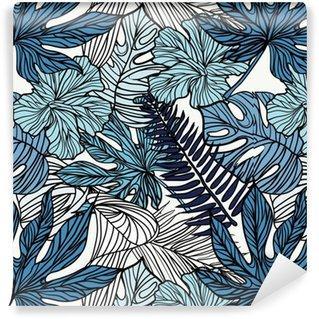 Fotomurales mexico papeles pintados autoadhesivos flores exoticas tropicales y plantas con hojas verdes de palma - Papel Tapiz Flores Exóticas Tropicales con Hojas Verdes de Palma