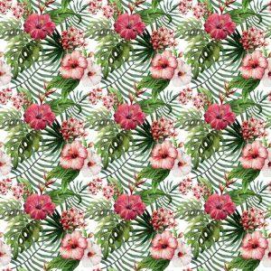 Papel Tapiz Hojas y Flores Tipo Acuarela en Fondo Blanco 02