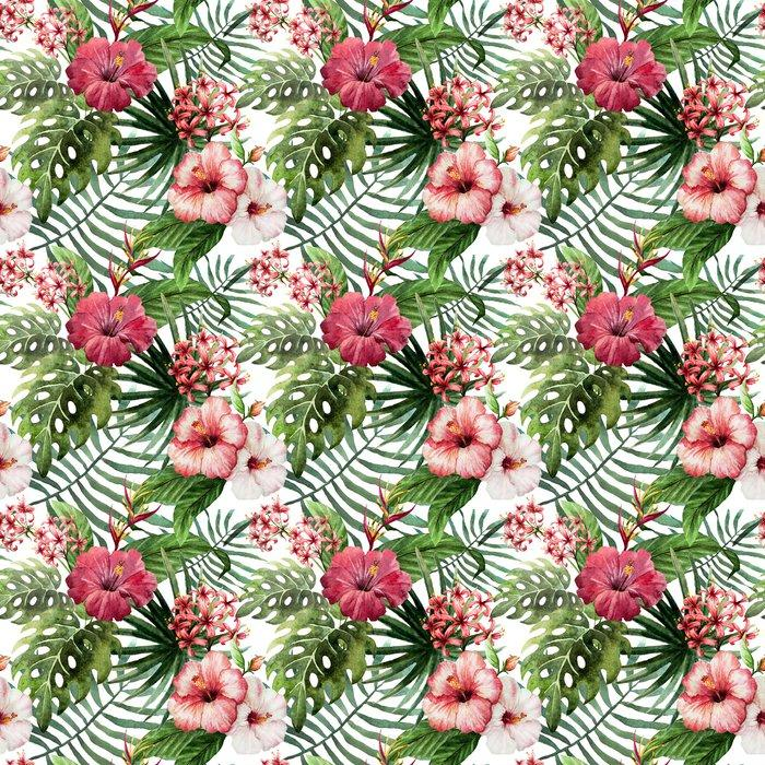 Fotomurales mexico papeles pintados autoadhesivos hibisco patron de la orquidea deja tropicos acuarela 1 - Papel Tapiz Hojas y Flores Tipo Acuarela en Fondo Blanco 02