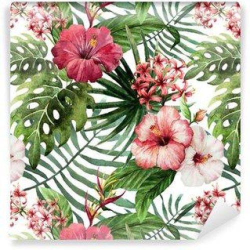 Fotomurales mexico papeles pintados autoadhesivos hibisco patron de la orquidea deja tropicos acuarela 500x500 - Fotomurales Papel Tapiz Tropical y Naturaleza