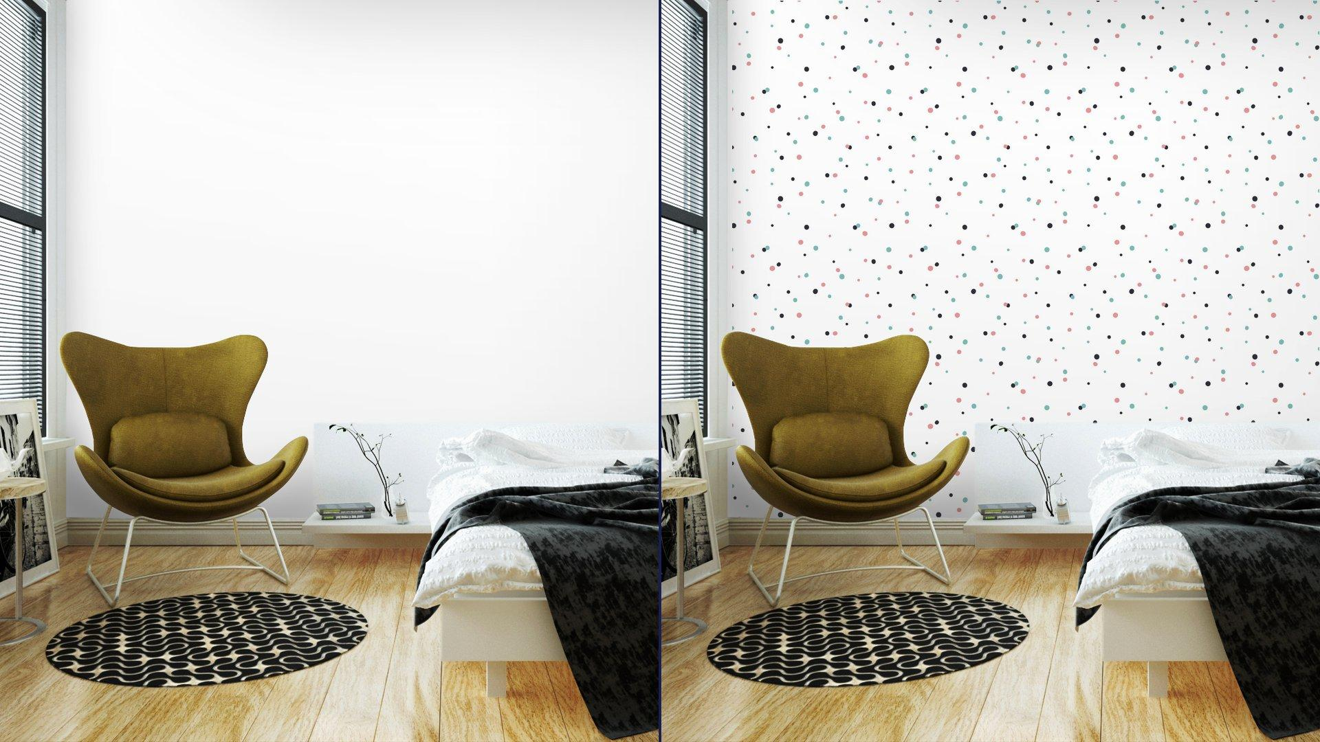 Fotomurales mexico papeles pintados autoadhesivos patron abstracto sobre fondo blanco con negro y gol 2 1 - Papel Tapiz Puntos de Colores en Fondo Blanco 02