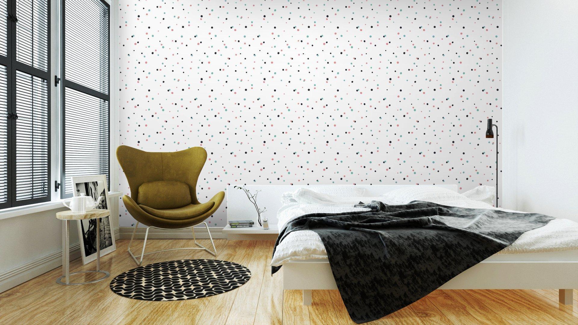 Fotomurales mexico papeles pintados autoadhesivos patron abstracto sobre fondo blanco con negro y gol 3 1 - Papel Tapiz Puntos de Colores en Fondo Blanco 02