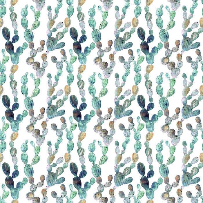 Fotomurales mexico papeles pintados autoadhesivos patron de cactus en el estilo de la acuarela 1 - Papel Tapiz Cactus Fondo Blanco Estilo Acuarela 01