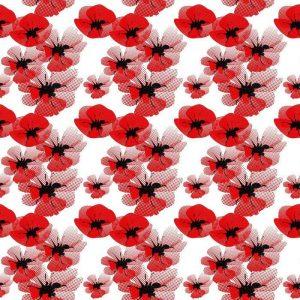 Papel Tapiz Floral Amapola Roja en Fondo Blanco