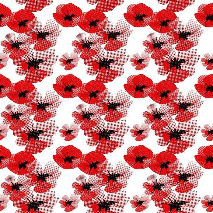 Fotomurales mexico papeles pintados autoadhesivos patron floral sin fisuras con amapola 1 - Papel Tapiz Floral Amapola Roja en Fondo Blanco