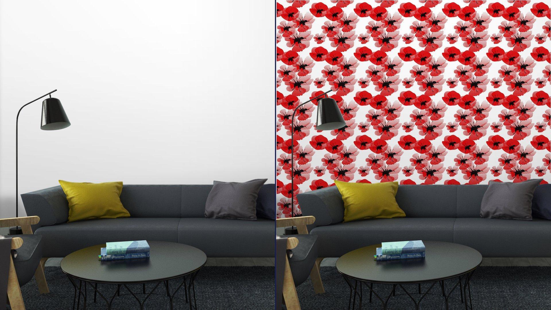 Fotomurales mexico papeles pintados autoadhesivos patron floral sin fisuras con amapola 3 - Papel Tapiz Floral Amapola Roja en Fondo Blanco