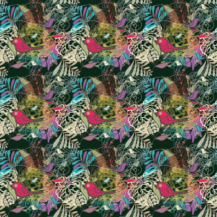 Fotomurales mexico papeles pintados autoadhesivos sin fisuras vector patron 1 - PapelTapizPatrón Floral Abstracto con Aves 01