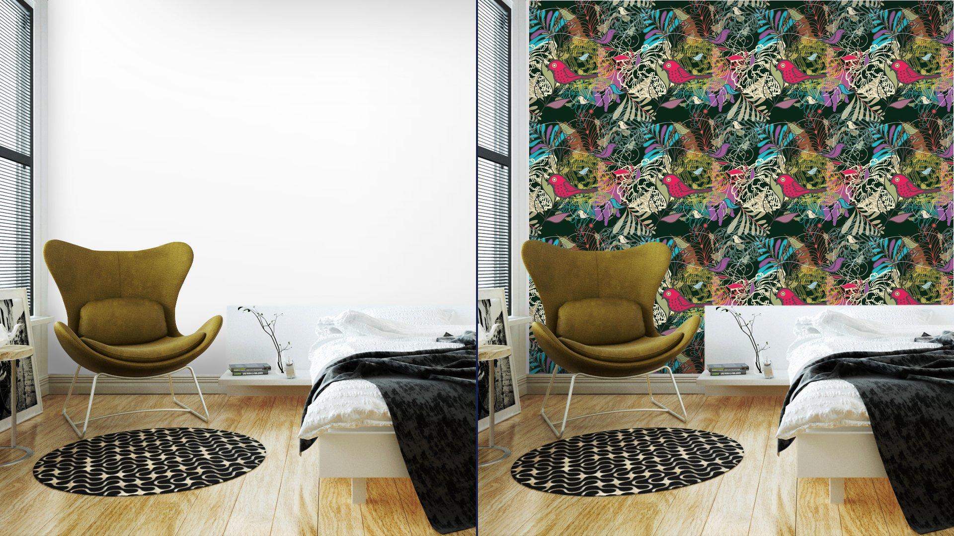Fotomurales mexico papeles pintados autoadhesivos sin fisuras vector patron 2 - PapelTapizPatrón Floral Abstracto con Aves 01