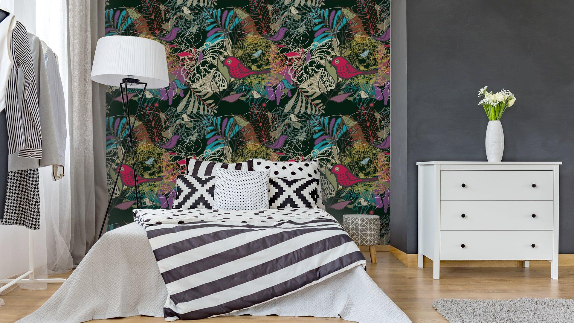 Fotomurales mexico papeles pintados autoadhesivos sin fisuras vector patron 4 - PapelTapizPatrón Floral Abstracto con Aves 01