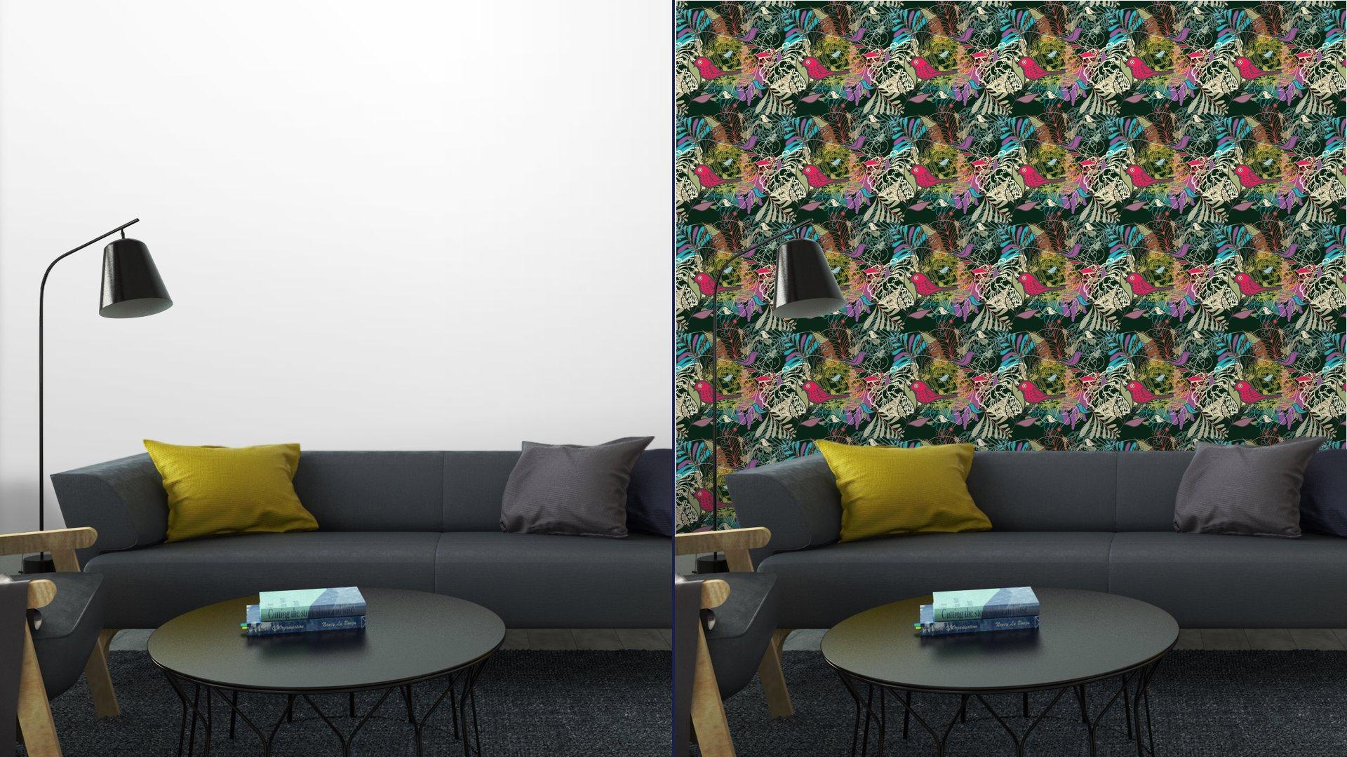 Fotomurales mexico papeles pintados autoadhesivos sin fisuras vector patron 5 - PapelTapizPatrón Floral Abstracto con Aves 01