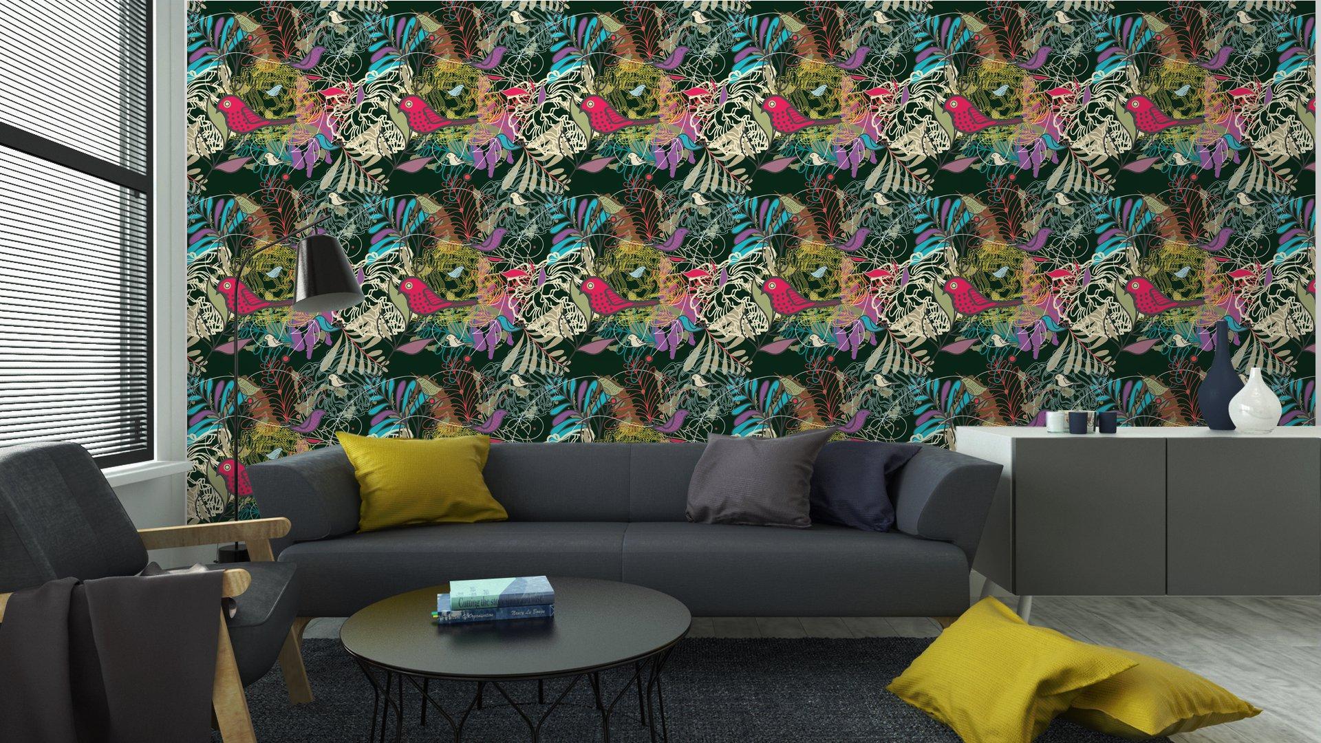 Fotomurales mexico papeles pintados autoadhesivos sin fisuras vector patron 6 - PapelTapizPatrón Floral Abstracto con Aves 01
