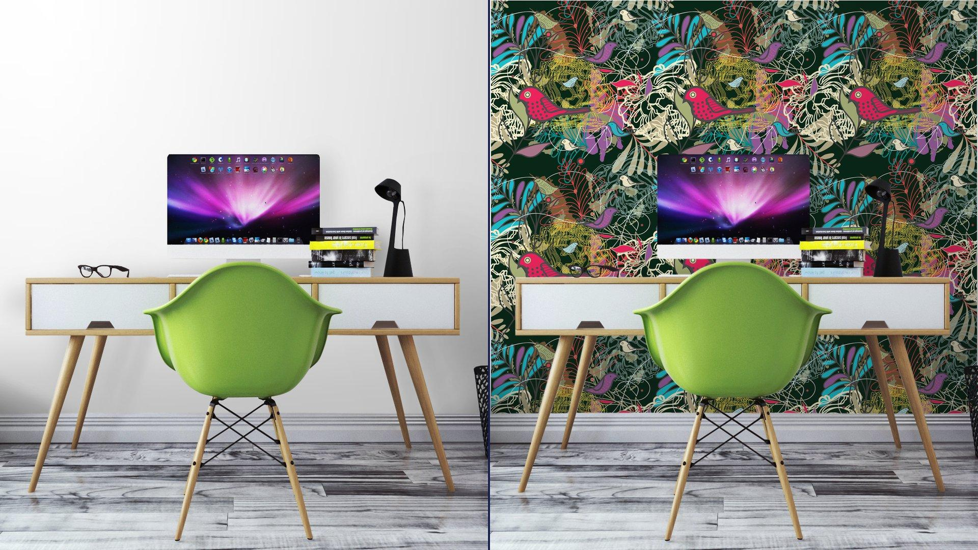 Fotomurales mexico papeles pintados autoadhesivos sin fisuras vector patron 7 - PapelTapizPatrón Floral Abstracto con Aves 01