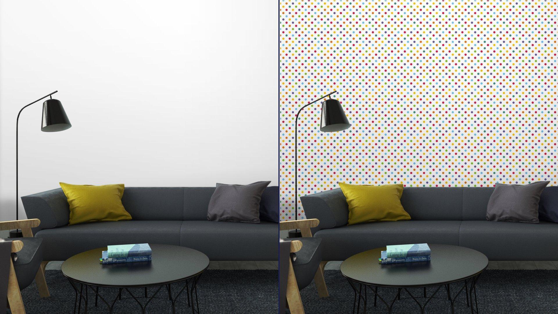 Fotomurales mexico papeles pintados autoadhesivos sin fisuras vector patron o de fondo con colores lunares 3 - PapelTapiz Puntos de Colores en Fondo Blanco 01