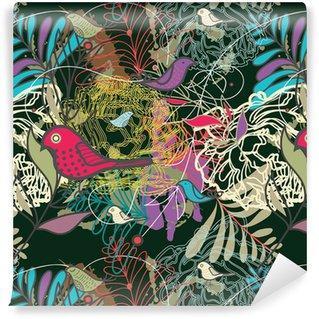 Fotomurales mexico papeles pintados autoadhesivos sin fisuras vector patron - PapelTapizPatrón Floral Abstracto con Aves 01
