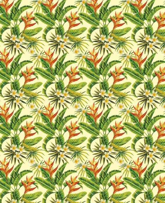 Fotomurales mexico papeles pintados autoadhesivos tropical exotica patron de flores y plantas 1 - Papel Tapiz Tropical Flores Y Plantas 01