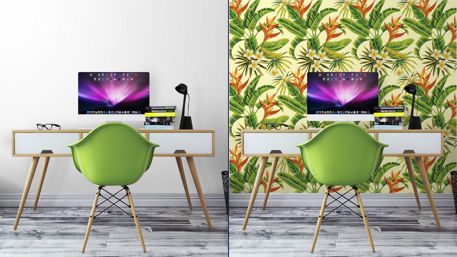 Fotomurales mexico papeles pintados autoadhesivos tropical exotica patron de flores y plantas 5 - Papel Tapiz Tropical Flores Y Plantas 01