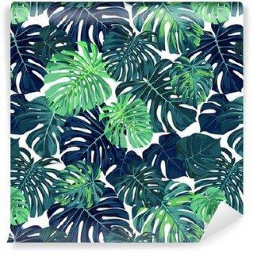 Fotomurales mexico papeles pintados autoadhesivos vector patron de color verde con la palma de monstera deja en el fondo oscuro verano sin fisuras diseno de la tela tropical 500x500 - Fotomurales Papel Tapiz Tropical y Naturaleza