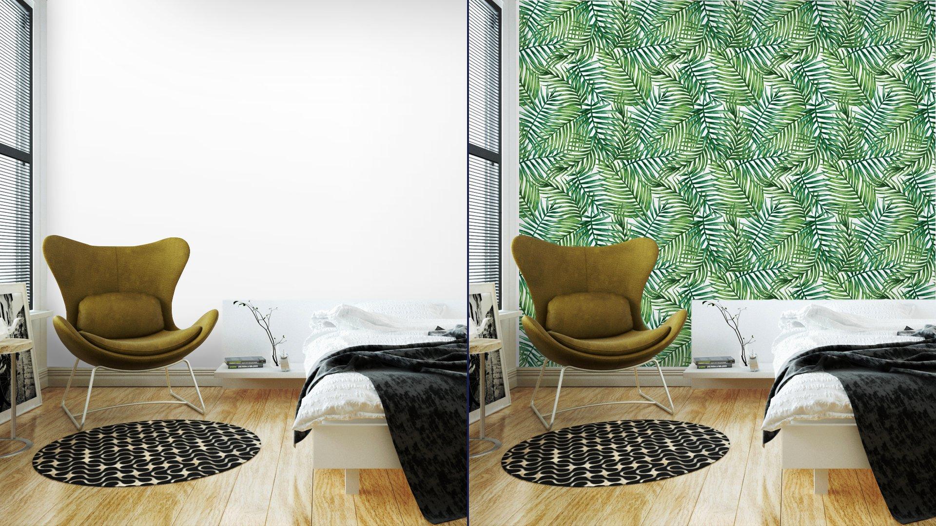 Fotomurales mexico papeles pintados autoadhesivos watercolor tropical palm leaves seamless pattern vector illustration 4 - Papel Tapiz Hojas Tropicales Tipo Acuarela en Fondo Blanco 04