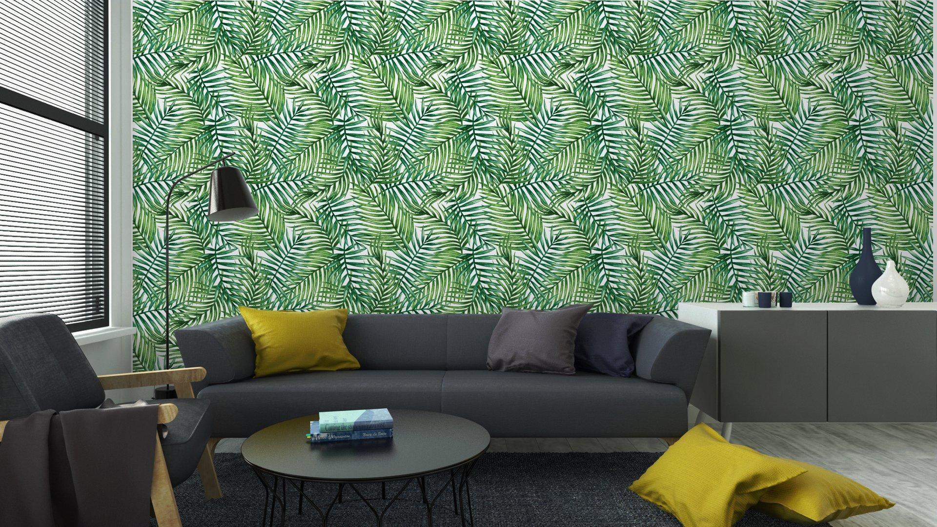 Fotomurales mexico papeles pintados autoadhesivos watercolor tropical palm leaves seamless pattern vector illustration 5 - Papel Tapiz Hojas Tropicales Tipo Acuarela en Fondo Blanco 04