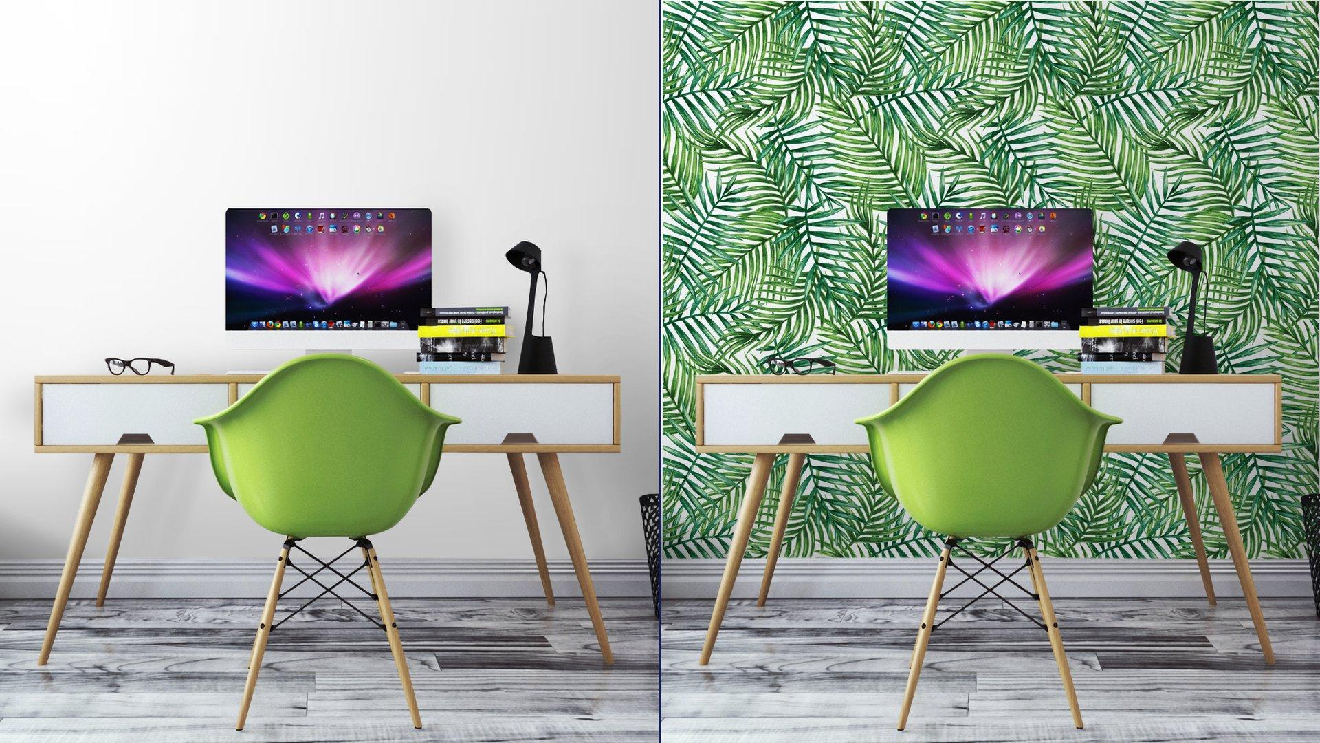 Fotomurales mexico papeles pintados autoadhesivos watercolor tropical palm leaves seamless pattern vector illustration 7 - Papel Tapiz Hojas Tropicales Tipo Acuarela en Fondo Blanco 04
