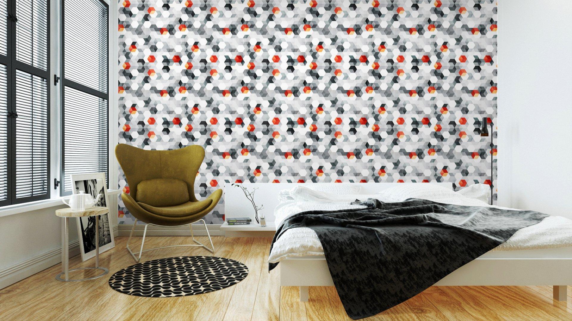 Fotomurales mexico papeles pintados cubos abstractos sin fisuras patron con efecto grunge 3 - Papel Tapiz Cubos Abstractos Con Efecto Grunge 01
