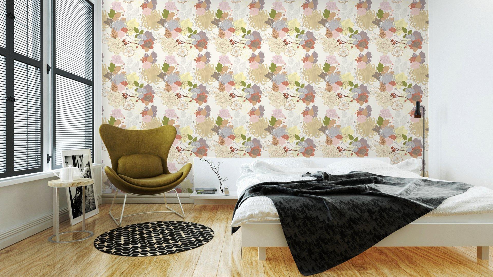 Fotomurales mexico papeles pintados de fondo sin fisuras con el ornamento botanico abstracto 3 - Papel Tapiz Floral Abstracto en Fondo Blanco 01