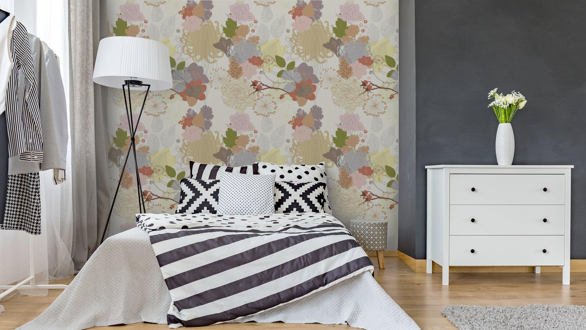 Fotomurales mexico papeles pintados de fondo sin fisuras con el ornamento botanico abstracto 4 - Papel Tapiz Floral Abstracto en Fondo Blanco 01