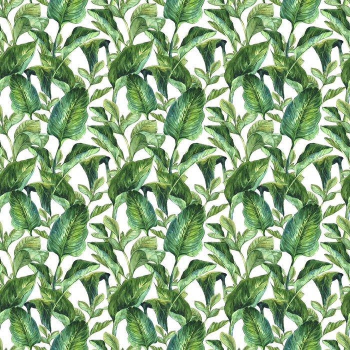 Fotomurales mexico papeles pintados fondo inconsutil de la acuarela con hojas tropicales 1 - Papel Tapiz Hojas Tropicales Tipo Acuarela en Fondo Blanco 06