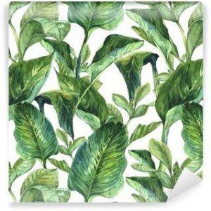 Papel Tapiz Hojas Tropicales Tipo Acuarela en Fondo Blanco 06