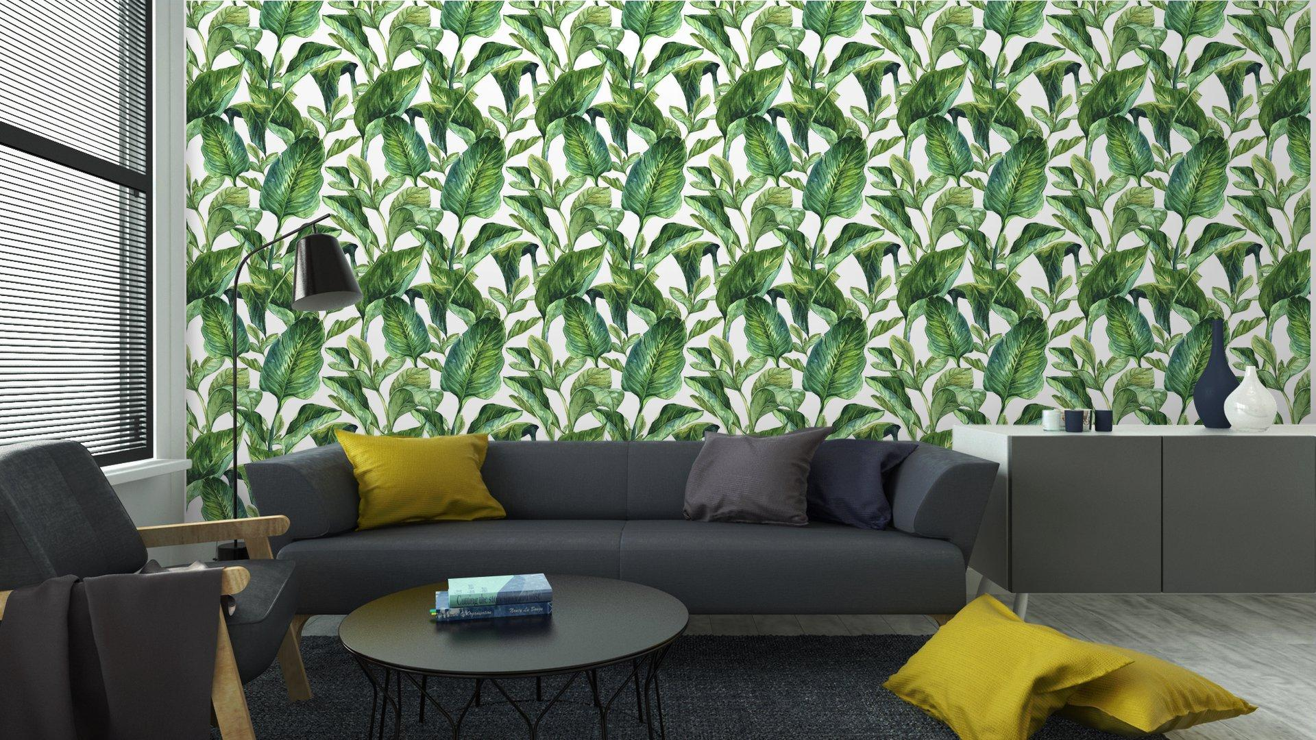 Fotomurales mexico papeles pintados fondo inconsutil de la acuarela con hojas tropicales 5 - Papel Tapiz Hojas Tropicales Tipo Acuarela en Fondo Blanco 06