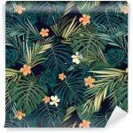 Fotomurales-mexico-papeles-pintados-fondo-transparente-de-colores-tropicales-brillantes-con-hojas-y
