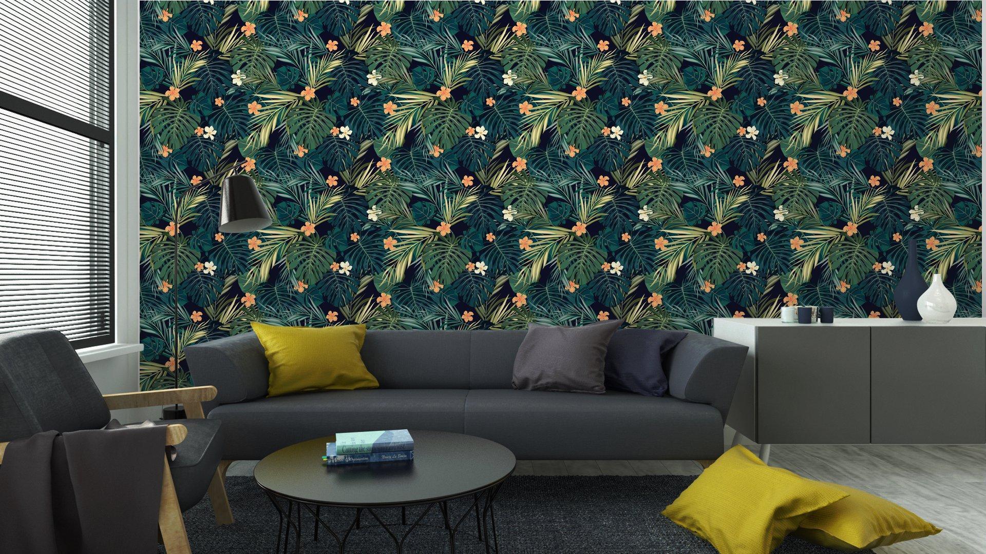 Fotomurales mexico papeles pintados fondo transparente de colores tropicales brillantes con hojas y 4 - Papel Tapiz Hojas Tropicales 01