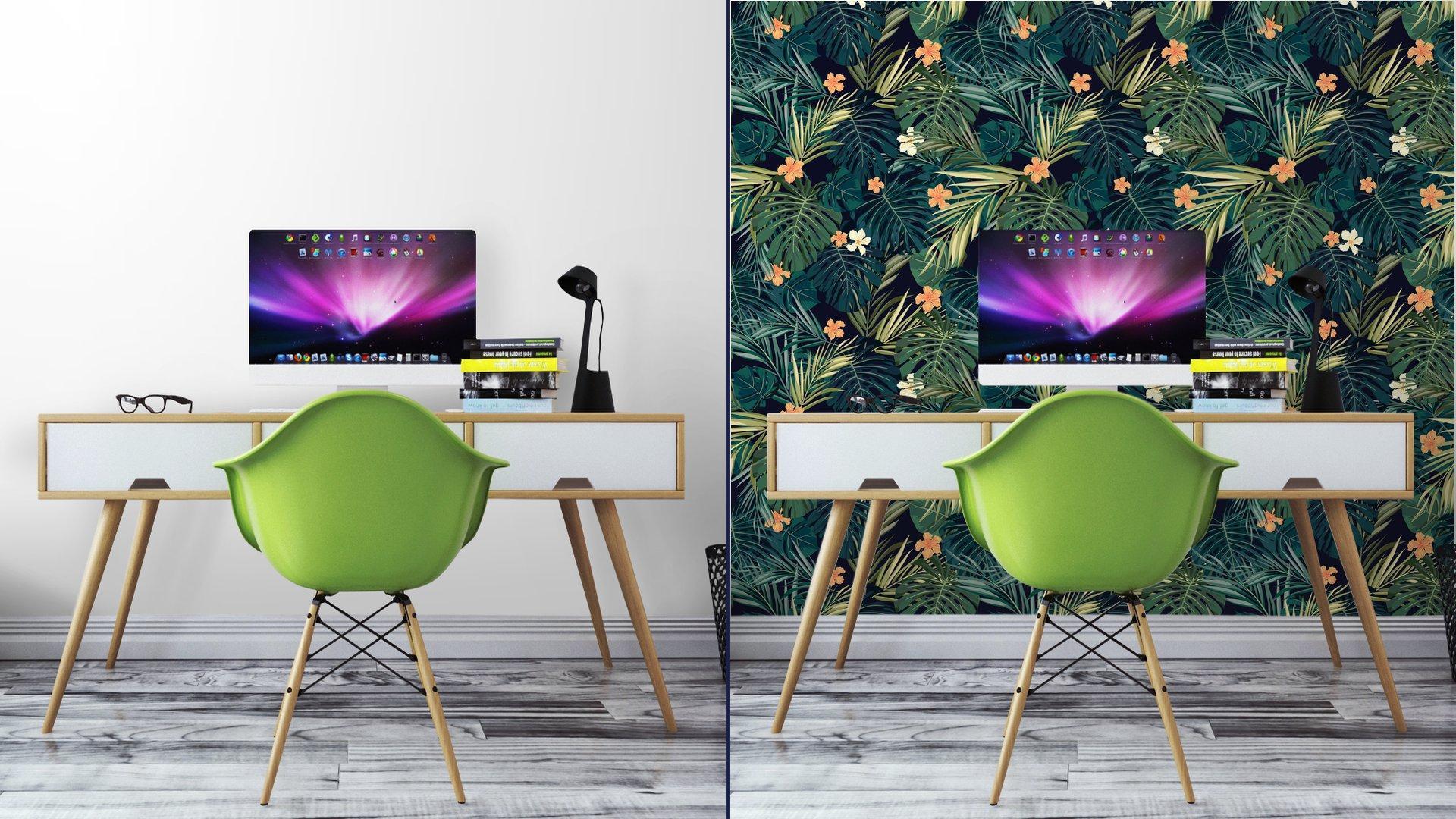 Fotomurales mexico papeles pintados fondo transparente de colores tropicales brillantes con hojas y 5 - Papel Tapiz Hojas Tropicales 01