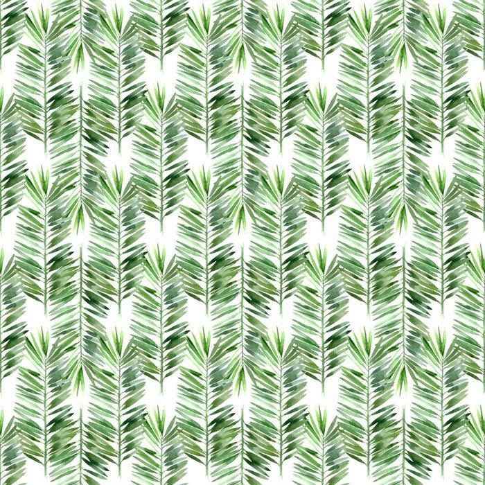 Fotomurales mexico papeles pintados lavables acuarela hoja de palmera sin fisuras 1 - Papel Tapiz Hojas Tropicales Tipo Acuarela en Fondo Blanco 03
