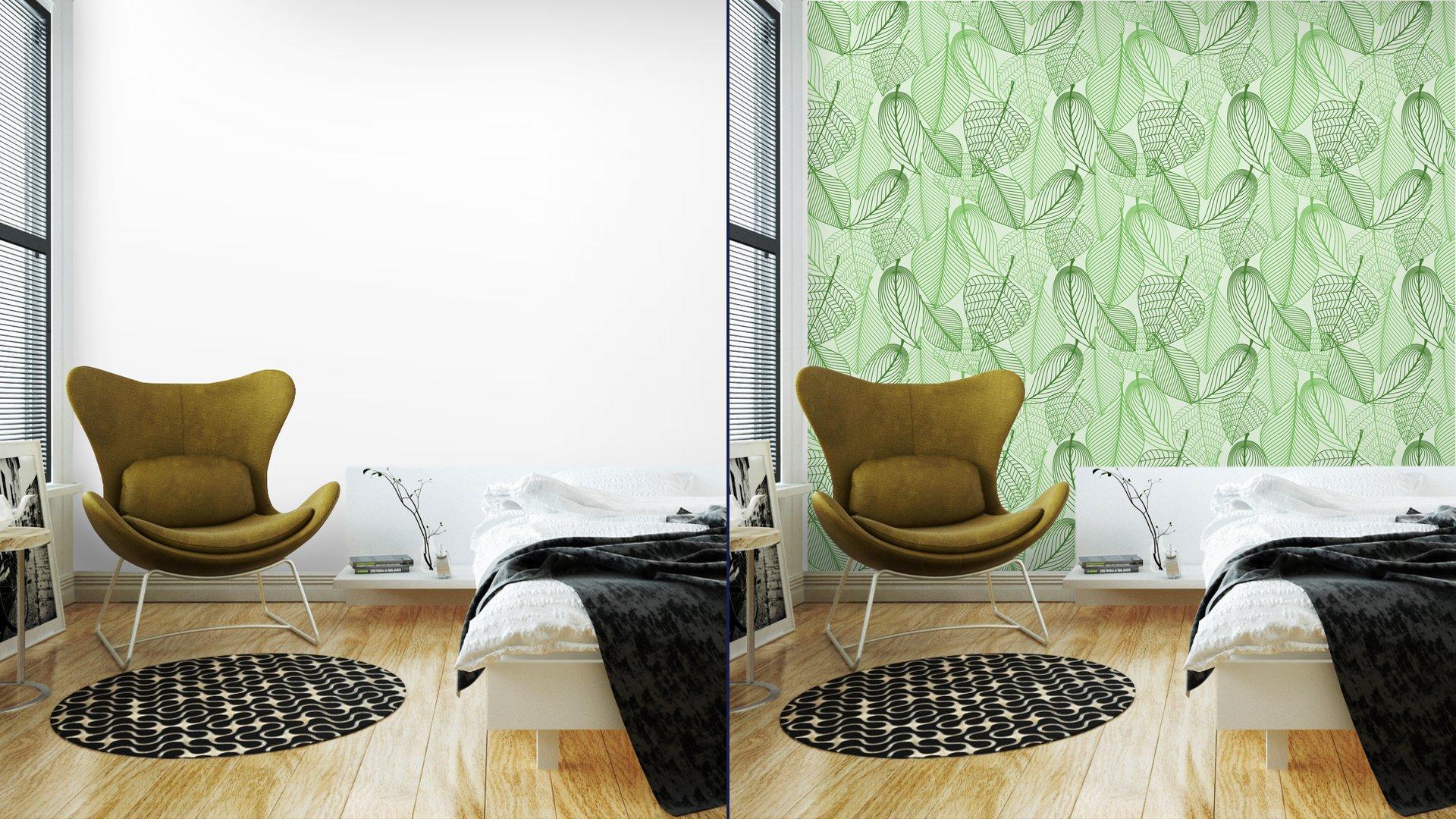Fotomurales mexico papeles pintados lavables el verde deja el fondo sin patron 2 - Papel Tapiz Patrón Hojas Verdes en Fondo Blanco 02