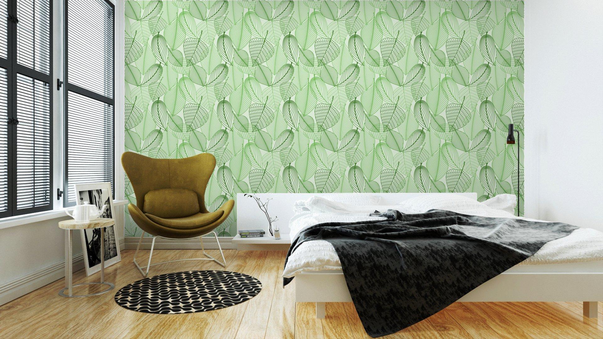 Fotomurales mexico papeles pintados lavables el verde deja el fondo sin patron 3 - Papel Tapiz Patrón Hojas Verdes en Fondo Blanco 02