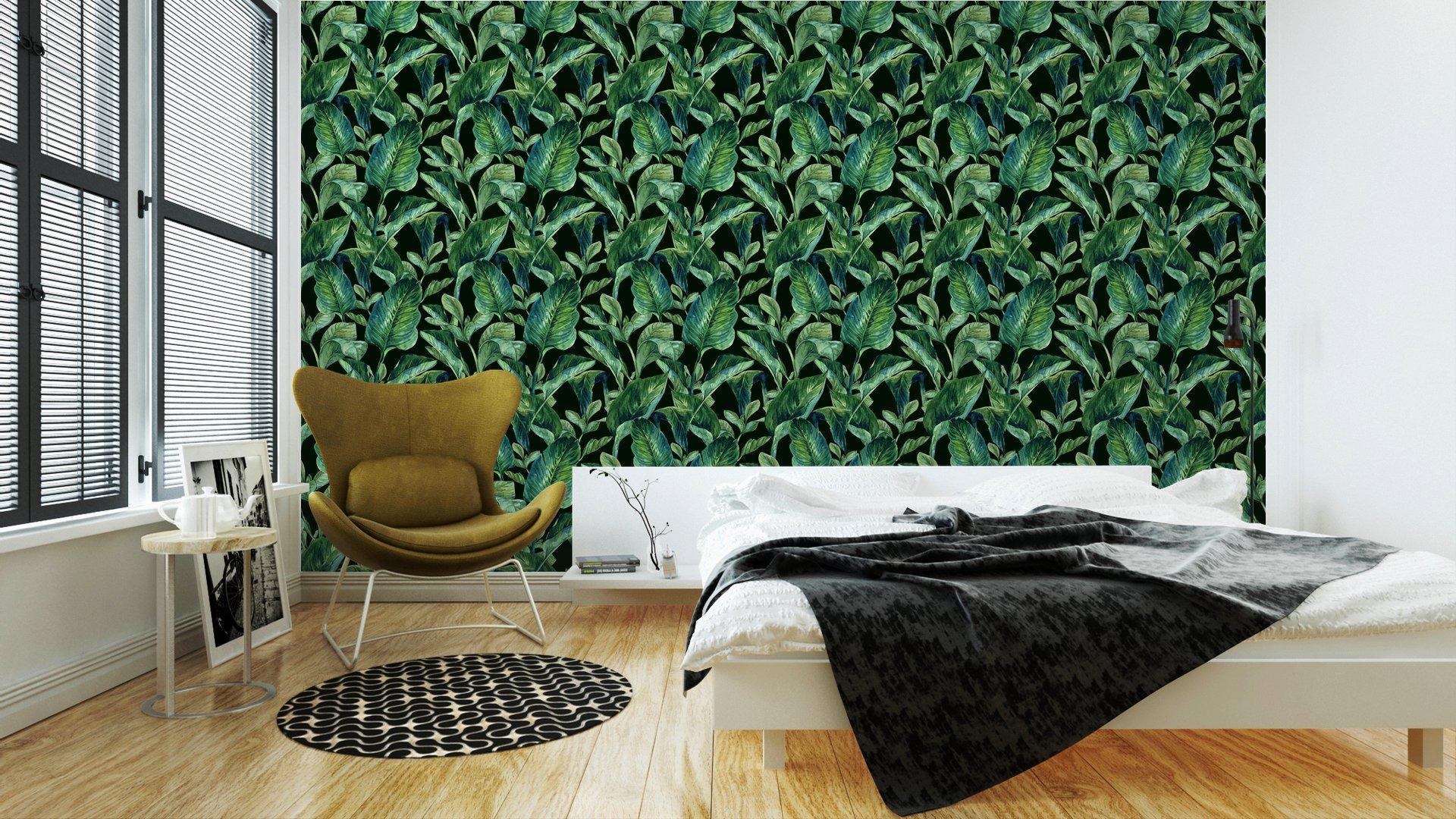 Fotomurales mexico papeles pintados lavables fondo inconsutil de la acuarela con hojas tropicales 2 - Papel Tapiz Hojas Tropicales en Fondo Negro 01