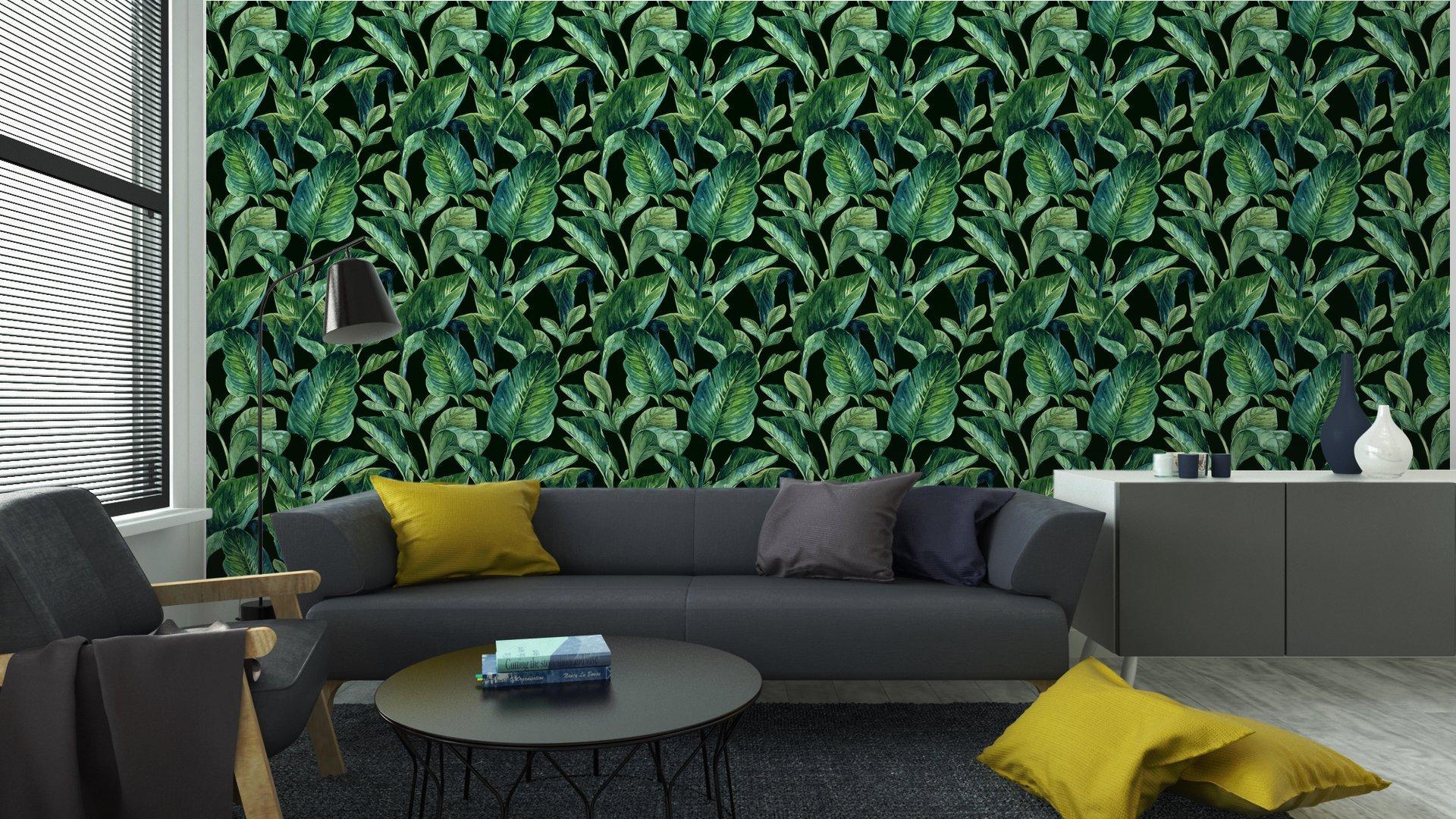 Fotomurales mexico papeles pintados lavables fondo inconsutil de la acuarela con hojas tropicales 4 - Papel Tapiz Hojas Tropicales en Fondo Negro 01