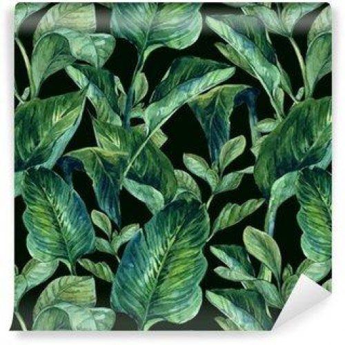 Fotomurales mexico papeles pintados lavables fondo inconsutil de la acuarela con hojas tropicales 500x500 - Fotomurales Papel Tapiz Tropical y Naturaleza