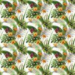 Fotomurales-mexico-papeles-pintados-lavables-hibisco-patron-de-la-orquidea-deja-tropicos-acuarela 1